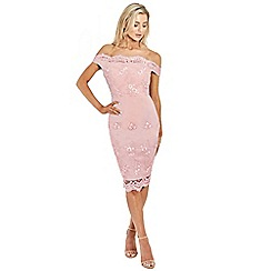 Sistaglam - Pink 'Ziane' fitted lace dress
