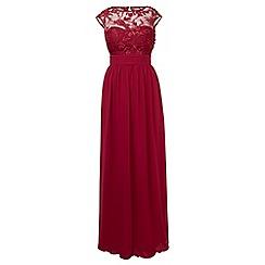 Sistaglam - Wine red 'Beverley' embellished maxi dress