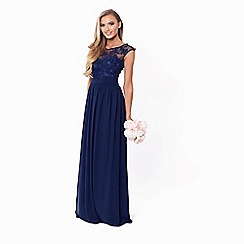 Sistaglam - Petite navy 'Beverley' lace bridesmaid maxi dress