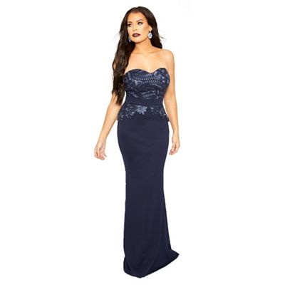a7399d777b69 Sistaglam Love Jessica - Navy 'bethanie' bandeau maxi dress with lace panel  detail