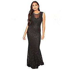 Sistaglam Love Jessica - black 'Verena' mesh panel maxi sequin lace dress with fish tail hem