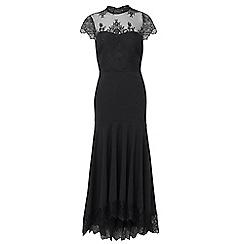 Sistaglam Love Jessica - Black 'Gizelle' eyelash panel dress with frill lace hem fishtail skirt
