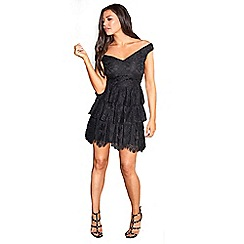 Sistaglam Love Jessica - Black 'alexi' bardot teared skater all over lace dress