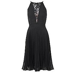 Sistaglam - Black 'Reuna' halter neck lace bodice skater dress