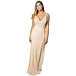 bbe699df2f3 Sistaglam - Nude  Janicey  strappy embroidered bodace maxi dress
