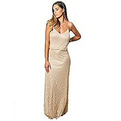 Sistaglam - Neutral/sand 'clementine' mesh overlay maxi dress