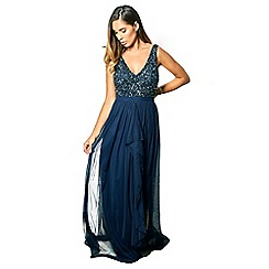 Sistaglam - Navy 'Yasmin' sequin v-neck detailed top tiered bridesmaid dress