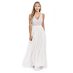 Sistaglam - White 'Yasmin' sequin detailed v-neck top tiered bridesmaid dress