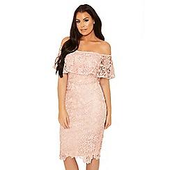 Sistaglam Love Jessica - Pink 'Juliney' bardot crochet wax lace dress