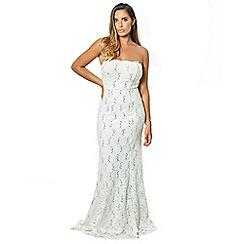 Sistaglam - white 'Olivieta' bandeau sequin lace bridal fish tail maxi dress
