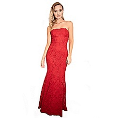 Sistaglam - Red 'Olivieta' bandeau sequin lace bridal fish tail maxi dress