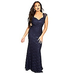Sistaglam Love Jessica - Navy 'Analisa' Sequin Lace Maxi Dress