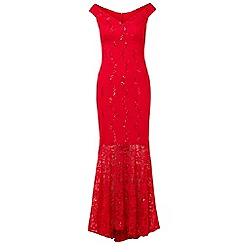 Sistaglam - Red 'Luliene' sequin lace bardot maxi dress with fish tail
