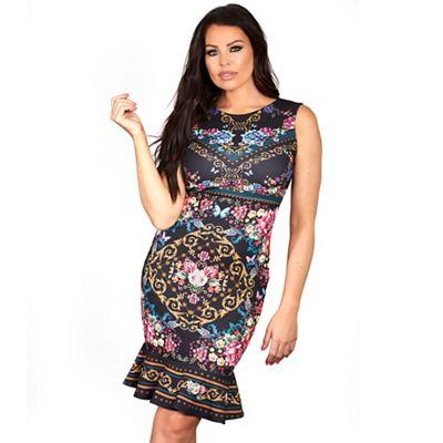 f75a695025 Sistaglam Love Jessica Multi coloured  Thea  floral chain print stretch  bodycon midi dress