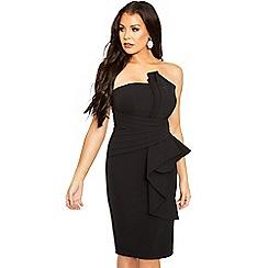 Sistaglam Love Jessica - Black 'prisha' structured bandeau origami pleated tailored midi dress