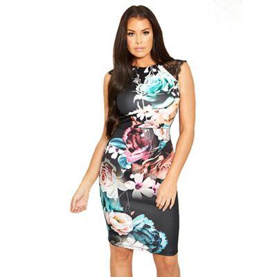 e14c79d8 Sistaglam Love Jessica multi 'Nella' floral bodycon dress with lace  shoulder detail   Debenhams