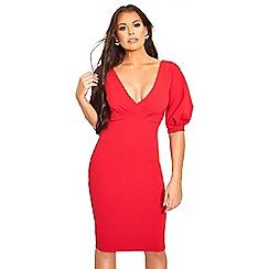 Sistaglam Love Jessica - Red 'Klizia' v neck bodycon midi dress with blouson sleeve detail