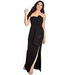 Sistaglam Love Jessica - Black 'Shanna' structured bandeau origami pleated tailored maxi dress
