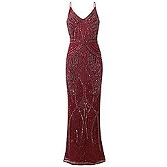 Sistaglam - Berry 'Flory' full beaded maxi dress