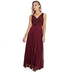 Sistaglam - Berry yasminsleeveless embroidered bodice chiffon maxi skirt