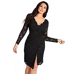 Sistaglam Love Jessica - Black 'Steffie' sequin lace wrap dress