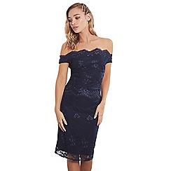 Sistaglam - lace  Ziane  bardot navy midi dress c1e6fd794