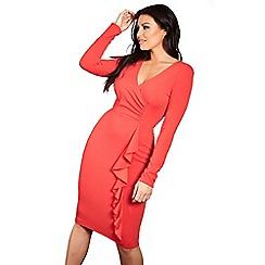 Sistaglam Love Jessica - Red 'Carman' long sleeve wrap bodycon midi dress