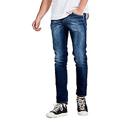 Jack & Jones - Mid blue 'indigo knit' slim fit denim jean
