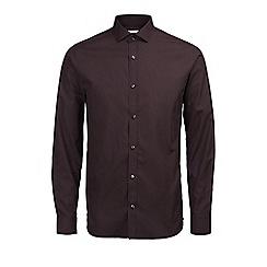Jack & Jones - Burgundy plain 'Lee' shirt