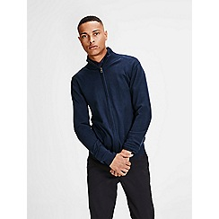 Jack & Jones - Navy 'Fabi' zip up knit cardigan