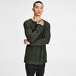 Jack & Jones - Olive 'Pannel' knit jumper