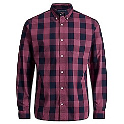 Jack & Jones - Burgundy checked 'Rome' long sleeve shirt