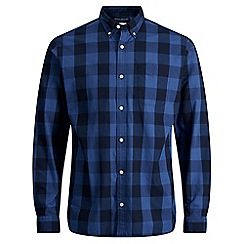 Jack & Jones - Navy checked 'Rome' long sleeve shirt