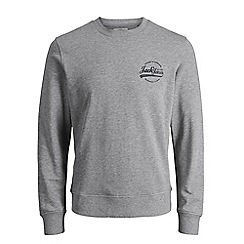 Jack & Jones - Grey 'Raf' crew neck sweatshirt