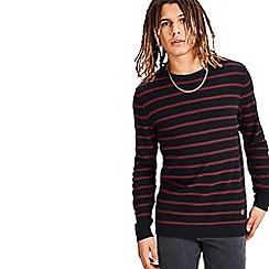 Jack & Jones - Maroon 'Nash' striped knitted jumper