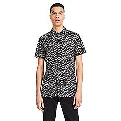Jack & Jones - Black patterned 'Hawaii' short sleeved shirt