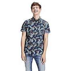 Jack & Jones - Navy patterned 'Paka' short sleeved shirt