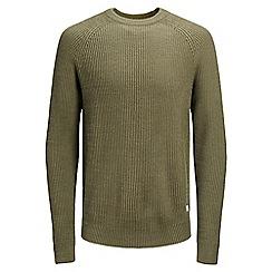 Jack & Jones - Olive green 'New Pannel' knit jumper
