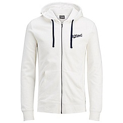 Jack & Jones - White 'Hobbs' zip up hoodie