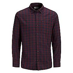 Jack & Jones - Burgundy checked 'Jacob' shirt