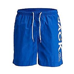 Jack & Jones - Bright blue long 'Sunset' swim shorts