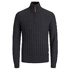 Jack & Jones - Black 'Jay' half zip knit
