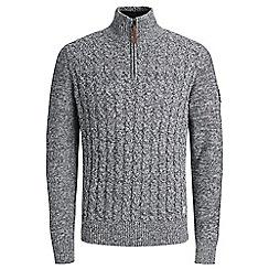 Jack & Jones - Grey 'Jay' half zip knit