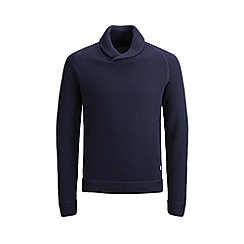 Jack & Jones - 'Navy 'Tony' Shawl Neck Knitted Jumper