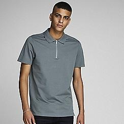 Jack & Jones - 'Dark Grey 'West' Zip Polo Shirt
