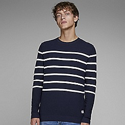 Jack & Jones - Navy Striped 'Bash' knitted jumper
