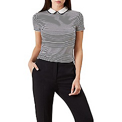 Hobbs - Black and white striped 'Bailey' collared top