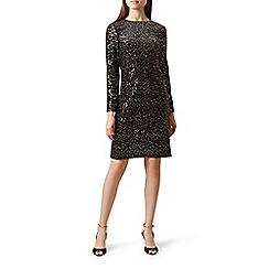 Hobbs - Black sequin velvet 'Mia' knee length shift dress