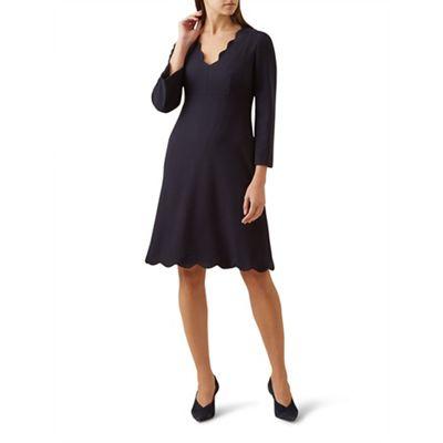 Hobbs   Blue 'scarlett' V Neck Knee Length Shift Dress by Hobbs