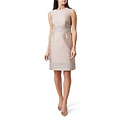 Hobbs - Pink silk blend 'Fran' knee length shift dress with wool
